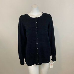 Charter Club Button Front Black Cardigan Sweater